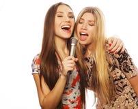 Dos muchachas de la belleza con un micrófono que cantan y que se divierten Fotografía de archivo libre de regalías