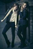 Dos muchachas de la moda de los jóvenes al lado de la pared de ladrillo Fotos de archivo