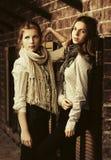 Dos muchachas de la moda de los jóvenes al lado de la pared de ladrillo Fotografía de archivo libre de regalías