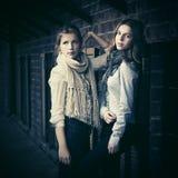 Dos muchachas de la moda de los jóvenes al lado de la pared de ladrillo Fotos de archivo libres de regalías