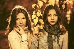 Dos muchachas de la moda de los jóvenes en parque del otoño Imágenes de archivo libres de regalías
