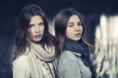 Dos muchachas de la moda de los jóvenes que caminan por el lago Foto de archivo