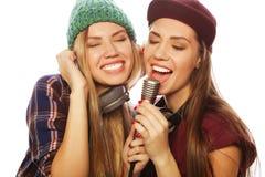 dos muchachas del inconformista de la belleza con un micrófono que cantan y que tienen f Imágenes de archivo libres de regalías