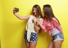 Dos muchachas del inconformista de la belleza con un micrófono toman selfi Foto de archivo libre de regalías