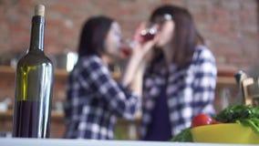 Dos muchachas del lgbt en la cocina están bebiendo el vino almacen de video