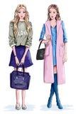 Dos muchachas elegantes hermosas con los bolsos Mujeres lindas en ropa de la moda Foto de archivo