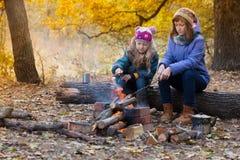 Dos muchachas en comida campestre Imágenes de archivo libres de regalías