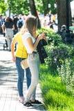 Dos muchachas en el parque que mira en smartphone Imagenes de archivo