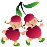 Dos muchachas en juego de la cereza stock de ilustración