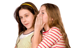 Dos muchachas en la edad de diez y once en wh Fotos de archivo