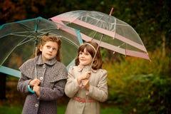 Dos muchachas en parque del otoño Imágenes de archivo libres de regalías