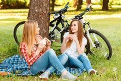 Dos muchachas en una comida campestre con las bicis Imágenes de archivo libres de regalías