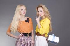 Dos muchachas en una fiesta de cumpleaños Imagen de archivo libre de regalías