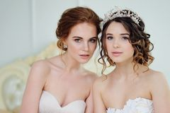 Dos muchachas en vestidos de boda Muchachas delicadas hermosas en el salón nupcial Imágenes de archivo libres de regalías