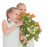 Dos muchachas encantadoras con los ramos de rosas. Imagen de archivo