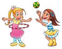 Dos muchachas están jugando.