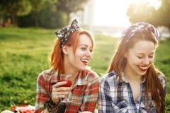 Dos muchachas felices jovenes en el estilo Pin-Para arriba Foto de archivo libre de regalías