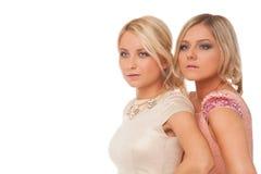 Dos muchachas hermosas en los vestidos de la moda aislados Fotografía de archivo libre de regalías