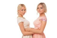 Dos muchachas hermosas en los vestidos de la moda aislados Foto de archivo