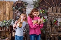 Dos muchachas hermosas que presentan en decoraciones de la Navidad Fotografía de archivo libre de regalías