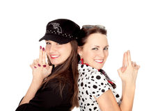 Dos muchachas hermosas retrataron a gángsteres fotografía de archivo libre de regalías