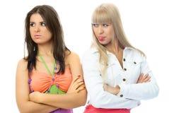 Dos muchachas hermosas tienen un conflicto fotografía de archivo libre de regalías