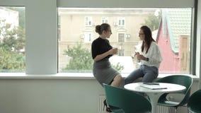 Dos muchachas jovenes del negocio en vidrios están bebiendo el café durante el almuerzo, sentándose por la ventana panorámica Tra almacen de metraje de vídeo