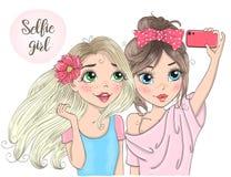 Dos muchachas lindas hermosas dibujadas mano del selfie con el teléfono elegante Ilustración del vector libre illustration