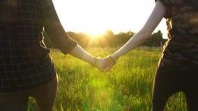 Dos muchachas que caminan de común acuerdo en el campo en la puesta del sol, sol, símbolo de LGBT, MES lento almacen de metraje de vídeo