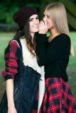 Dos muchachas que cotillean en un parque Foto de archivo