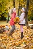 Dos muchachas que saltan en parque del otoño Foto de archivo