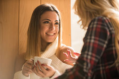 Dos muchachas que se divierten mientras que bebe el café Fotos de archivo libres de regalías