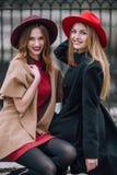Dos muchachas que se sientan en el banco y la sonrisa Fotos de archivo