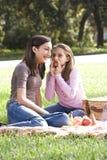 Dos muchachas que tienen comida campestre en parque Fotografía de archivo