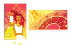 Dos muchachas soñadoras con un amarillo y un fondo carmesí Tiempo y futuro ilustración del vector