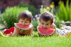 Dos muchachos, comiendo la sandía en el jardín Fotografía de archivo