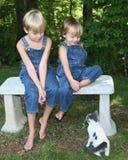 Dos muchachos jovenes que miran un gato foto de archivo libre de regalías