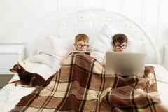 Dos muchachos juegan en el ordenador portátil y la tableta con el perro en cama Foto de archivo