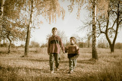 Dos muchachos que caminan junto en parque del otoño Imagen de archivo libre de regalías