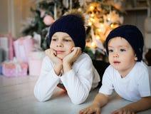 Dos muchachos que mienten en un piso cerca de un árbol de abeto fotos de archivo libres de regalías
