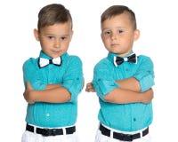 Dos muchachos tristes de los géminis Fotografía de archivo libre de regalías