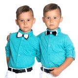 Dos muchachos tristes de los géminis Foto de archivo