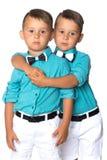 Dos muchachos tristes de los géminis Foto de archivo libre de regalías
