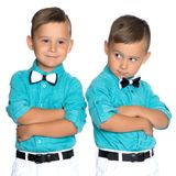 Dos muchachos tristes de los géminis Imágenes de archivo libres de regalías