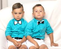 Dos muchachos tristes de los géminis Imagen de archivo libre de regalías