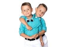 Dos muchachos tristes de los géminis Fotografía de archivo