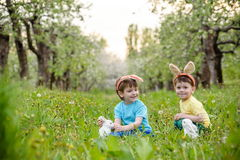Dos muchachos y amigos de los niños en oídos del conejito de pascua durante tra Fotografía de archivo