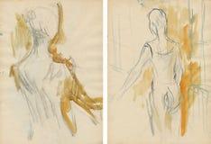 Dos mujer-bailarines, drenando Fotos de archivo