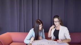 Dos mujeres adultas del negocio están discutiendo en la tabla un proyecto sobre el dibujo metrajes
