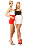 Dos mujeres atractivas de la moda en ropa del verano Imagen de archivo libre de regalías